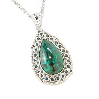 126-177 - Gem Insider Sterling Silver 18 x 11mm Chrysocolla Teardrop Pendant w/ Chain