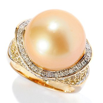 126-182 - 14K Gold 14mm Exotic Cultured Pearl & Diamond Ring