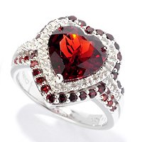 SS HEART SHAPED GARNET RING WITH WHITE TOPAZ