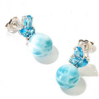 126-188 - Gem Insider Sterling Silver 10mm Larimar Bead & Swiss Blue Topaz Earrings
