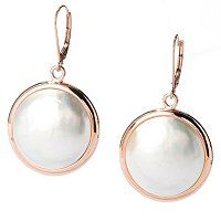 14K RG 20mm COIN MABE EARRINGS