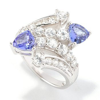 126-194 - Gem Insider Sterling Silver 3.00ctw Tanzanite & Zircon Double Bypass Ring