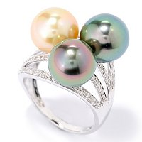 14K WG TRI-COLOR TAHITIAN & GOLDEN SOUTH SEA EXOTIC COLORS RING