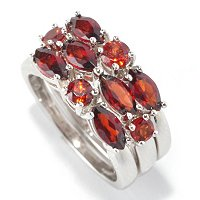 SS SET OF 3 GARNET STACK RINGS