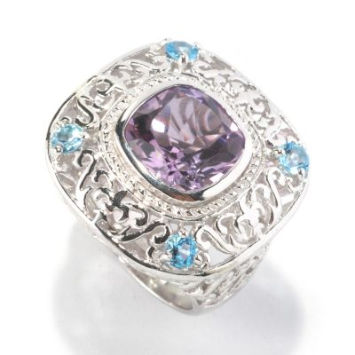 126-204 - Gem Insider Sterling Silver 4.30ctw Amethyst & Swiss Blue Topaz Cushion Shape Ring
