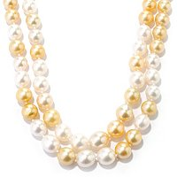 14K YG GOLDEN & WHITE SOUTH SEA DOUBLE STRAND NECKLACE