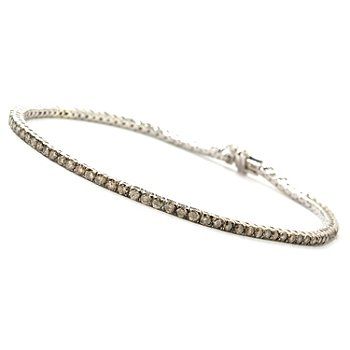 126-212 - Diamond Treasures Sterling Silver Champagne Diamond Choice Tennis Bracelet