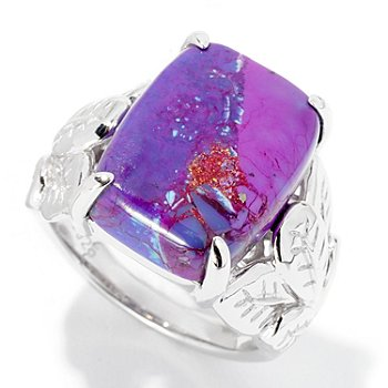 126-216 - Gem Insider Sterling Silver 16 x 12mm Purple Turquoise Leaf Ring