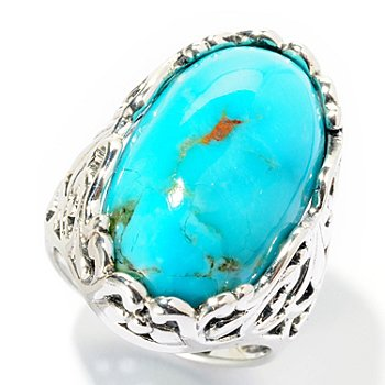 126-217 - Gem Insider Sterling Silver 23 x 13mm Oval Turquoise Scrollwork Ring