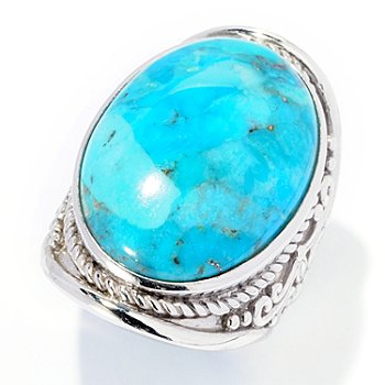126-220 - Gem Insider Sterling Silver 24 x 18mm Oval Turquoise North-South Ring