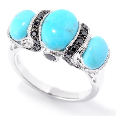 126-221 - Gem Insider Sterling Silver Kingman Turquoise & Black Spinel Ring