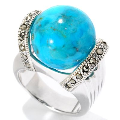 126-222 - Gem Insider Sterling Silver 14mm Turquoise & Grey Marcasite Ball Ring