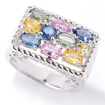 126-227 - Gem Insider Sterling Silver 2.00ctw Multi Color Sapphire Rectangle Ring