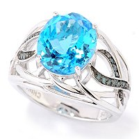SS OVAL BLUE TOPAZ RING BLUE DIAMOND ACCENTS