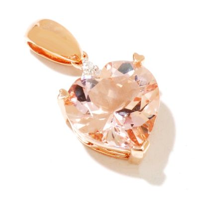 126-230 - Gem Treasures 14K Rose Gold 2.67ctw Morganite & Diamond Heart Shaped Pendant
