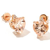 GT 14K MORGANITE AND DIAMOND HEART SHAPED EARRINGS