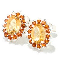 SS OVAL CITRINE & MADIERA CITRINE EARRINGS