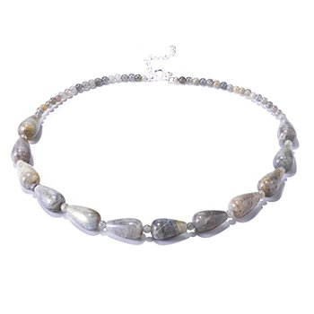 126-257 - Gem Insider Sterling Silver 18'' Teardrop Labradorite Necklace