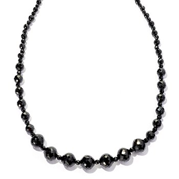 126-259 - Gem Treasures Sterling Silver Black Spinel Graduated Bead Necklace