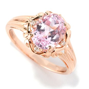 126-264 - Gem Treasures 14K Rose Gold 2.26ctw Oval Pink Kunzite & Diamond Ring