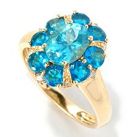 14K YG BLUE AND NEON APATITE RING