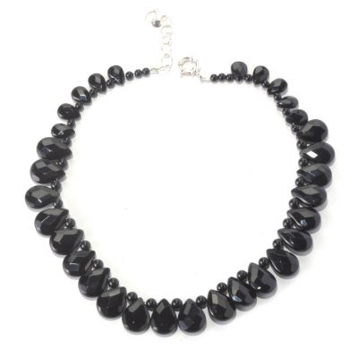 "126-267 - Gem Insider Sterling Silver 16"" Black Agate Teardrop Necklace w/ 2"" Extender"