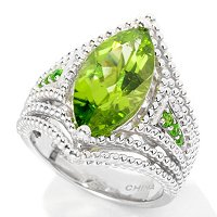 SS MQ PERIDOT RING WITH CHROME ACCENTS