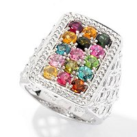 SS REC SHAPE MULTI COLOR TOURM RING