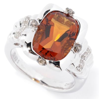 126-279 - Gem Insider Sterling Silver 4.02ctw Citrine & Diamond Rectangle Ring