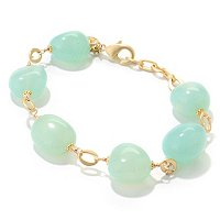 "7.75"" +1"" EXT GOLD PLATED GREEN CHALCEDONY BRACELET"