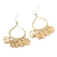 HAMMERED DISCS TEARDROP CHANDELIER EARRINGS