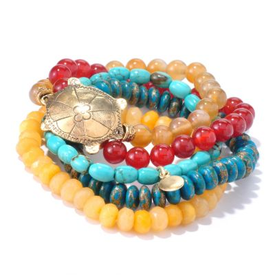 "126-283 - mariechavez Set of Five 6.5"" Turtle Gemstone Beaded Bracelets"