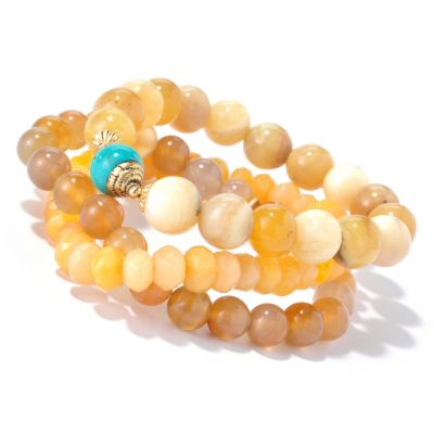 "126-289 - mariechavez Set of Three 6.25"" Gemstone Beaded Bracelets"