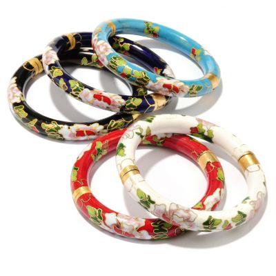 126-308 - Set of Five Hinged Cloisonné Bangle Bracelets w/ Magnetic Clasps
