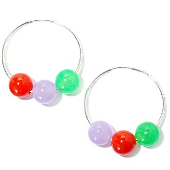 126-310 - Sterling Silver 10mm Dyed Interchangeable Jade Bead Hoop Earrings