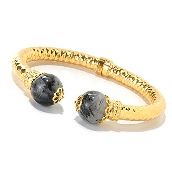 126-315 - Scintilloro™ Gold Embraced™ 7.25'' Hinged Cuff Bracelet w/ 15.5mm Gem Endcaps