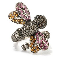 SS/PLAT RING MULTI GEMSTONE WRAP-AROUND DRAGONFLY