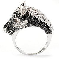SS/P RING PAVE MULTI GEMSTONE BLACK STALLION