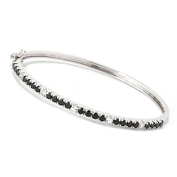 126-319 - Gem Treasures Sterling Silver Black Spinel & White Topaz Bangle Bracelet