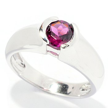 126-321 - Gem Insider Sterling Silver Bezel Set Exotic Gemstone Round Ring
