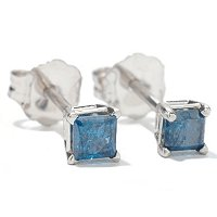 14KT WG BLUE DIAMOND SQUARE STUD EARRING