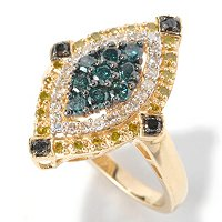 SS BLUE, BLACK, YELLOW AND WHITE MARQUISE RING