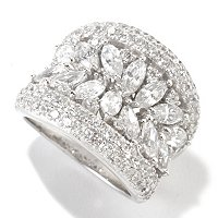 CL SS/PLAT MARQUISE AND ROUND CONCAVE RING