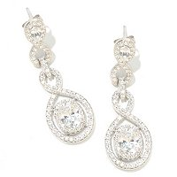CL SS/PLAT OVAL CUT DOUBLE DROP HALO DROP EARRINGS