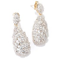 CL SS/PLAT ROUND CUT TEAR DROP EARRINGS