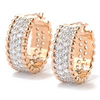 SB SS/CHOICE TWO ROW PAVE BEADED TEXTURED HUGGIE HOOP EARRINGS