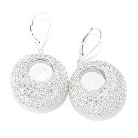 SB SS/PLAT BOLD PAVE CIRCLE DROP EARRINGS