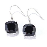 SS BLACK SPINEL CUSHION CUT EARRING