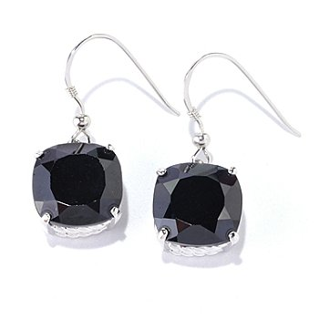 126-373 - Gem Treasures Sterling Silver 12mm Cushion Cut Black Spinel Dangle Earrings