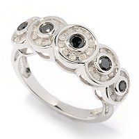 SS .5CTW BLACK & WHITE DIAMOND CIRCLE RING